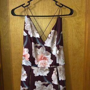 Charlotte Rousse flower maroon dress
